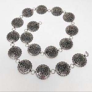 Accessories - BOHO Western Thunderbird Chain Belt OS Silver